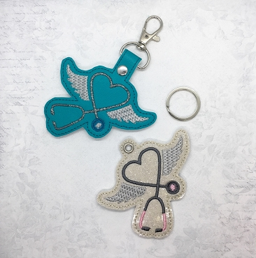 Medical Wings Snaptab / Keyfob Embroidery Design